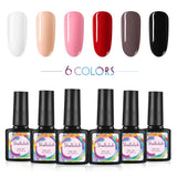 Shelloloh 10ml Nail Gel Polish Soak Off Gel 6 Colors Gel Semi Permanent Base Top Coat Manicure Set