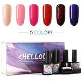 Shelloloh 6/8Pcs Nail Gel Polish Set Soak off Gel 10ml Nail Gel Base Top Coat Set