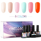 Shelloloh 10ml Nail Gel Polish Soak Off Gel 6/8 Colors Gel Semi Permanent Base Top Coat Manicure Set