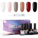 Shelloloh 6W Nail Lamp LED 6 pcs 10ml Nail Gel Polish Soak Off Gel Semi Permanent Base Top Coat Manicure Kit
