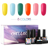Shelloloh 36W UV LED Nail Lamp 6 Colors Nail Gel Polish Soak Off Base Top Coat Gel Semi Permanent Kit