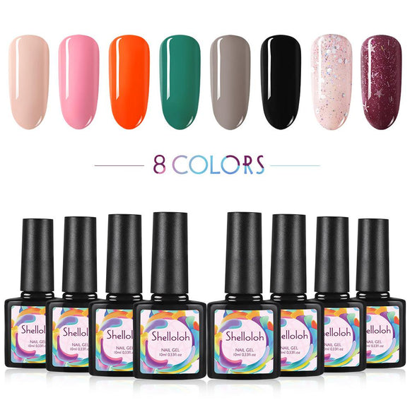 Shelloloh 8 Colors Nail Gel Polish 10ml Soak Off Gel Semi Permanent Base Top Coat Manicure Kit
