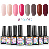 Shelloloh 8 Colors Nail Gel Polish Soak Off Gel Kit Semi Permanent Set