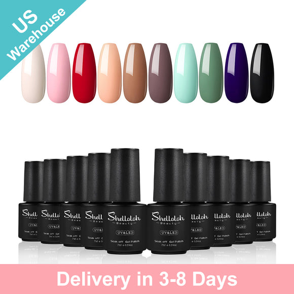 Shelloloh Nail Gel Polish 10 Colors Nail Varnish 7ml Soak Off Nail Art Set Manicure (Only for US Delivery)