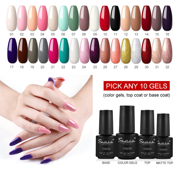 32 Colors Shelloloh 7ml Nail art Gel Polish Soak off Gel Base Top Coat Need Lamp