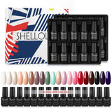 Shelloloh 10/12/20Pcs Nail Gel Polish Set Nail Lacquer 7ml Nail Varnish Nail Art Set