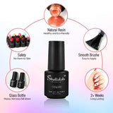 Shelloloh 2/4/6 Colors Gel Polish Nail Varnish 7ml Base Top Coat Nail Art Set