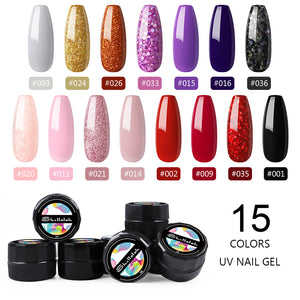 Shelloloh UV Gel Pure Color Gel 5ml 15 Color Nail Kit Soak Off