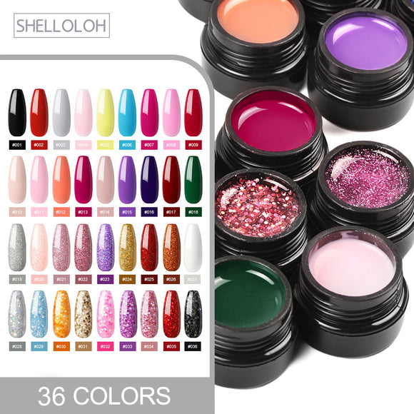 Shelloloh 36Pcs UV Nail Gel Set 5ml UV Gel Full Color Nail Gel DIY Polish Set  Long Lasting