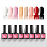 Shelloloh 7ml 8 Colors Nail Gel Polish Soak Off Nail Gel Set