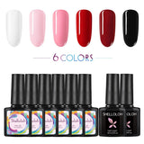 Shelloloh Nail Gel Polish Soak Off Gel 6 Colors  Base Top Coat Kit