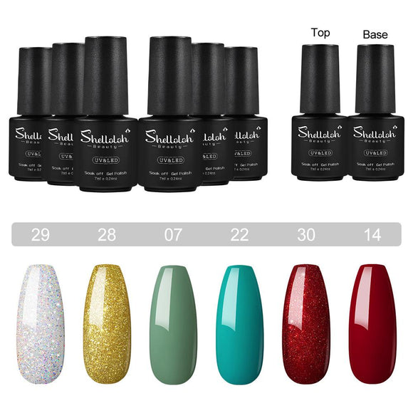 Shelloloh 6 Colors Nail Gel Polish 7ml Base Top Coat Nail Art Set