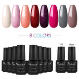Shelloloh Nail Gel 6/8/12/22 Colors Polish Gel Soak Off Gel 7ml Pure Color Glitter Color Top Base Coat Home Salon