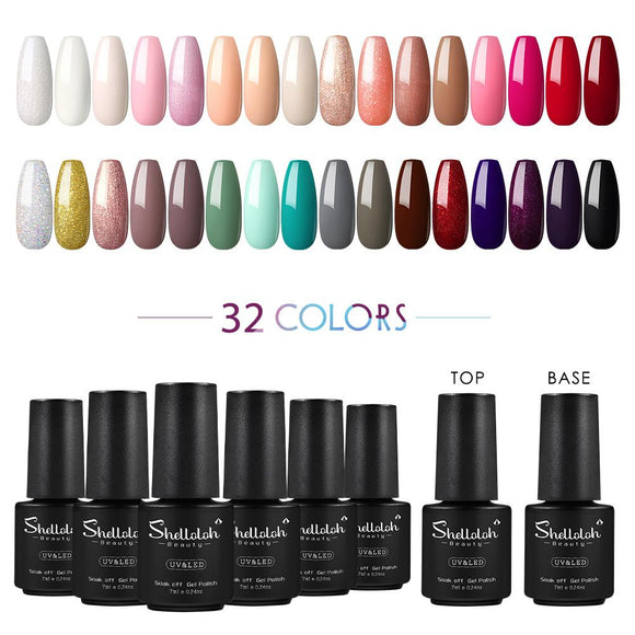 Shelloloh 8/10/20/32 Colors Gel Polish 7ml Base Coat Top Coat Nail Art Kit