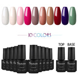 Shelloloh 7ml 6/10pc Nail Gel Soak Off Gel Pure Color Glitter Color Top Base Coat Set
