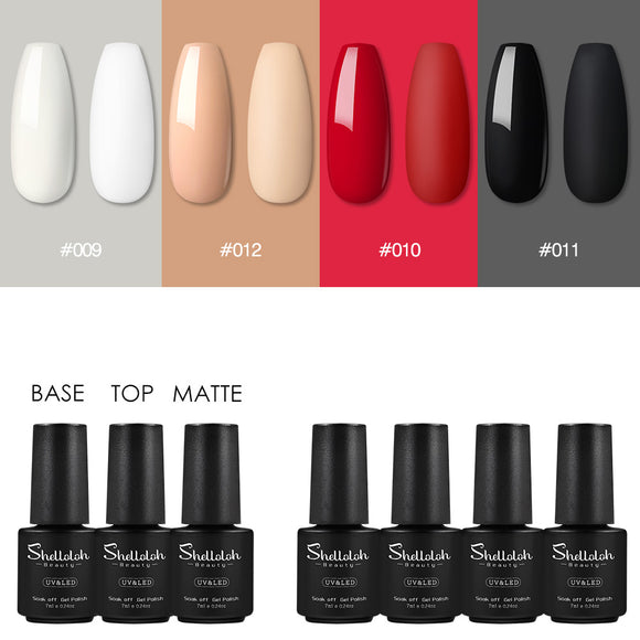 Shelloloh Matte Nail Gel Nail Polish Gel Soak Off Gel 4/6/8 Colors Summer Color Easy to Use Home Use