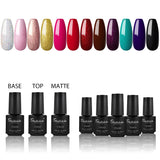 Shelloloh Nail Gel Matte Gel Nail Gel Polish 7ml 10/12 Colors Pure Color Glitter Gel Top Base Coat