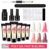 Shelloloh Poly Gel Set 15ml 6pc Quick Builder Gel Top Coat 7ml Base Coat Crystal Building Gel 30ml Cleanser Plus Quick Building Mold Tips Dual-End Nail Brush Nail Art