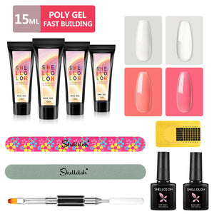 Shelloloh 4/6 Colors Poly Gel Set 15ml Quick Builder Gel Top Coat 10ml Base Coat Nail Form Dual-End Nail Brush Nail File Nail Art
