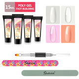 Shelloloh 15ml Quick Building Gel Set 4 Colors Poly Gel Dual-End Nail Brush Nail Art