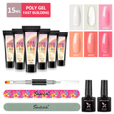 Shelloloh 15ml Poly Gel Set 6/8 Colors Quick Building Gel Nail Art Set