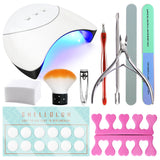 Shelloloh Manicure Tools Set 36W Nail Lamp Nail Cleaner Wipe Nail File Cuticle Tools Nail Art Tools Set Manicure Kit