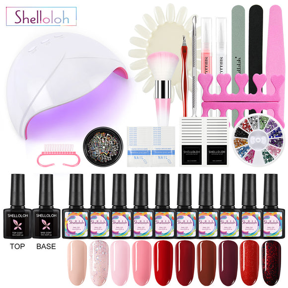 Shelloloh 10 Color 10ml Gel Polish Nail Art Kit 36W UV/LED Lamp Top Coat Base Coat Manucure Decoration