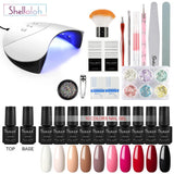 Shelloloh  8/10/12 pcs Nail Art Gel Polish Nail Lamp Base Top Coat Manicure Kit
