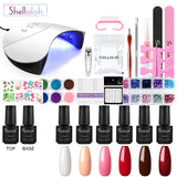 Shelloloh 7ml 6/8pc Kit Polish Nail Gel Soak Off Gel Nail Lamp Manicure Tools Set Nail Art Decoration Long Lasting Home Use