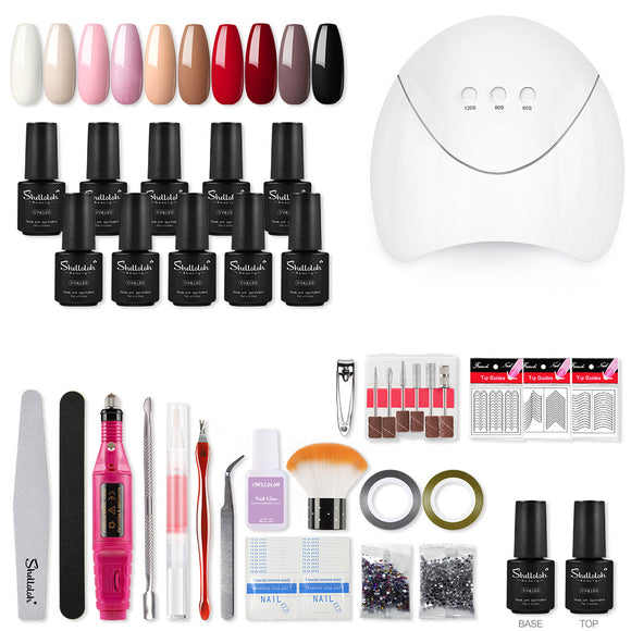 Shelloloh 10Pc Nail Gel Soak Off Gel Nail Lamp Nail Drill Machine Manicure Tools Decoration Kit