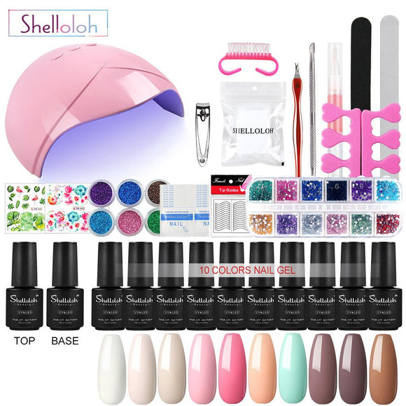 Shelloloh 10 Color Gel Nail Polish Set 36W UV LED Lamp Manicure Set Top Base Coat Manicure Tool