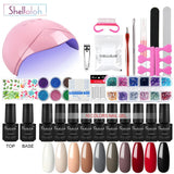 Shelloloh 10Pcs Nail Gel Polish 36W UV LED Lamp Manicure Set Manicure Tools