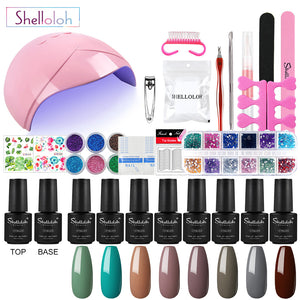 Shelloloh 7ml 8pc Nail Gel Nail Lamp Top Base Coat Manicure Kit Nail Art Decoration Nail Salon Home Use Starter Kit