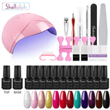 Shelloloh 12 Colors 7ml Nail Gel Soak Off Gel Top Base Coat Pure Color Summer Color Manicure Tools Kit Starter Kit Easy To Use