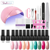Shelloloh Nail Gel 10/12 Colors Pure Glitter Color Top Base Coat Nail Lamp Manicure Tools Kit Easy To Use Nail Salon Long Lasting