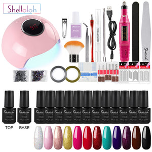 Shelloloh Nail Gel Soak Off Gel Polish Nail Lamp 36W Nail Art Decoration Manicure Tools Kit Nail Drill Machine Home Use Salon