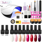 Shelloloh Nail Lamp 8pc Nail Gel Polish Soak Off Gel Top Base Coat Pure Glitter Color UV Gel Manicure Tools Kit Nail Art Decoration