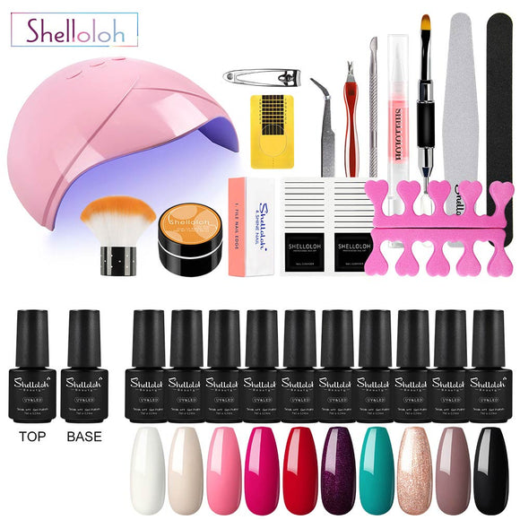Shelloloh Nail Gel UV Gel Nail Lamp 10 Color Pure Glitter Color Top Base Coat Manicure Tools Kit Nail Art Home Salon Long Lasting