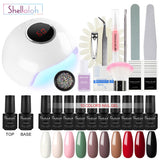 Shelloloh 36W Nail Lamp 10 Color Nail Gel Top Base Coat Nail Art Decoration Manicure Tools Kit Soak Off Gel Kit Long Lasting