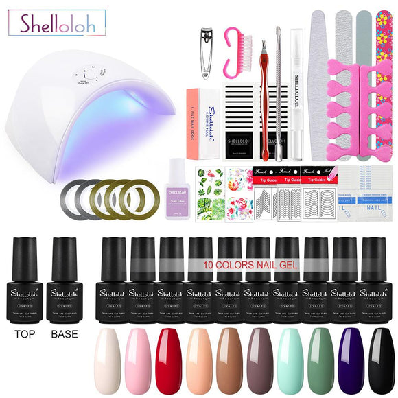 Shelloloh 10/20 Color Gel Nail Polish Set 36W UV LED Lamp Manicure Set