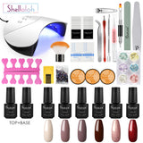 Shelloloh Nail Gel Polish 6 Colors 7ml Polygel UV Gel 36W UV/LED Nail Lamp Top Coat Base Coat Nail Art Manicure Kit