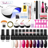 Shelloloh 10/12 Colors Nail Gel Polish Gel 36W Nail Lamp Manicure Tools Kit Nail Art Decoration