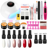 Shelloloh 7ml 6PC Nail Gel Soak Off Gel Top Base Matte Coat Nail Lamp Nail Drill Machine 3pc UV Gel Manicure Tools Kit