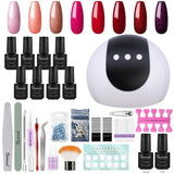 Shelloloh 36W Nail Lamp 8/20 Color Nail Gel Soak Off Gel Nail Art Decoration Top Base Coat Manicure Tools Kit Easy To Use