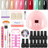 Shelloloh 8pc Nail Polish Gel Soak Off Gel Nail Lamp Manicure Tools Kit Nail Art Decoration Kit Easy To Use Starter Kit Long Lasting