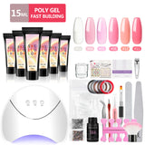Shelloloh 6Pcs Poly Gel Kit  15ml Quick Builder Gel 36W Nail Lamp 30ml Cleanser Plus Nail Art Kit Nail Extension Building Gel Decoration Manicure