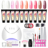 Shelloloh 10Pc Poly Gel Kit 15ml Crystal Quick Builder Gel 36W UV/LED Lamp 30ml Cleanser Plus Nail Art