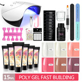 Shelloloh 6pc Poly Gel Kit 15ml Quick Builder Gel Nail Art Kit 36W UV/LED Lamp Decoration 30ml Cleanser Plus Manicure