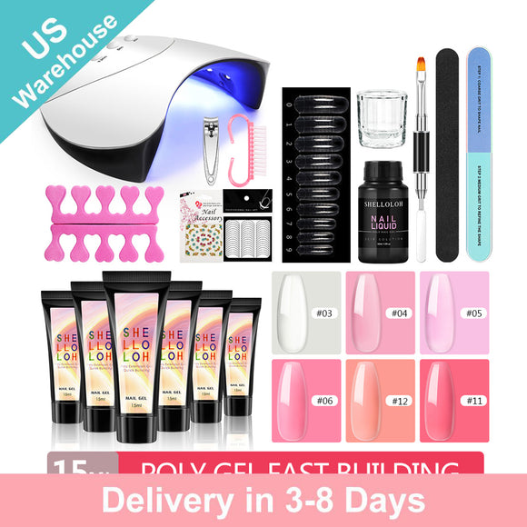 Shelloloh Poly Gel Kit 6pc 15ml Quick Builder Gel 36W UV/LED Lamp 30ml Cleanser Plus Nail Art Kit Decoration Manicure (Only for US Delivery)