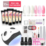 Shelloloh Poly Gel Kit 15ml Quick Builder Gel 36W UV/LED Lamp Top Coat 7ml Base Coat Cleanser Plus Nail Art Kit Manicure